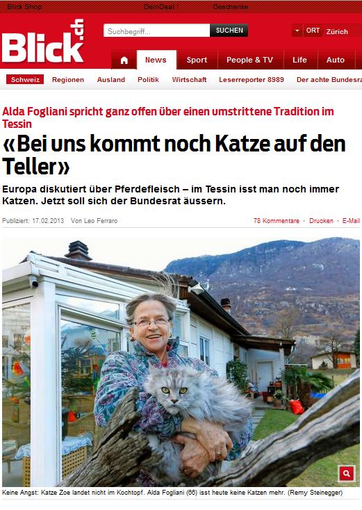 Bildschirmfotoausriß eines Zeitungsberichts zum Thema Katzenfleisch (Blick.ch)