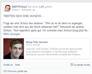 Staatskünstler Wolfram Lotz wird von Welt-Redaktor  Felix Stephan beweihräuchert: Akif Pirinccis Kommentar dazu ist so herzhaft wie gewohnt satirisch (Bildschirmfotoausriß: FB)