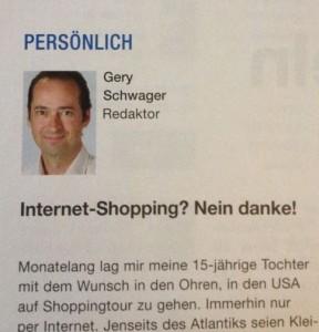 Der Redaktor von K-Tipp berichtet über negative Erfahrungen mit dem Interneteinkauf in den USA (Fotoausriß)