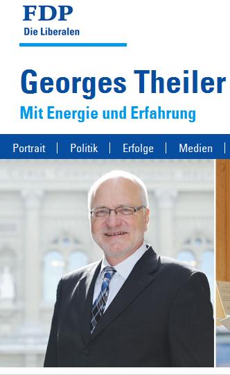 "Gegen die Initiatvive ""Pro service public"": Georges Theiler, FDP LU (Bildschirmfotoausriß: Webseite)"