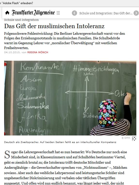 Intoleranz, nicht Rassimus ist es, wenn muslimische Schüler nicht-muslimische Schüler schlagen (Bildschirmfotoausriß: FAZ.ch)