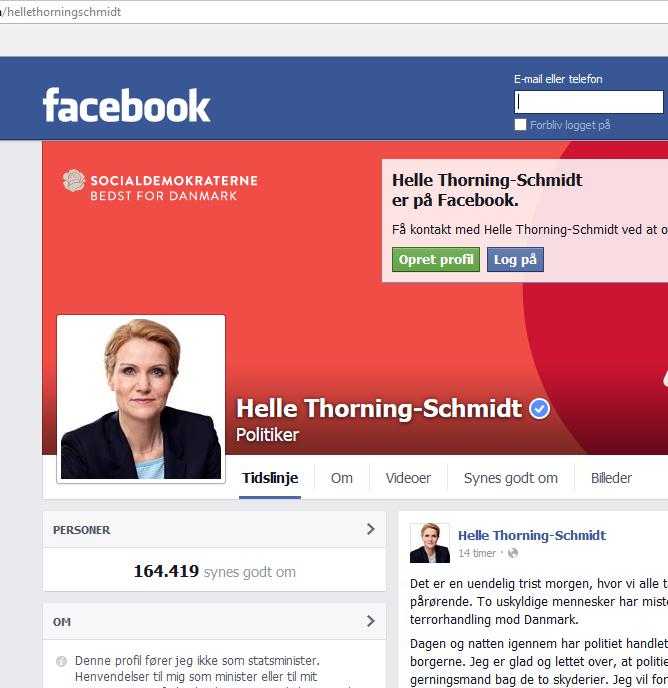 Bildschirmfotoausriß: FB-Seite von Helle Thorning-Schmidt