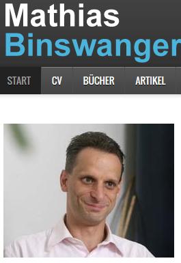 """Mathias Binswanger (Fotoausriß: Webseite) gefällt offenbar nicht, daß Schweizer die glücklichsten Europäer sind und zweifelt mit eigenartigen """"Argumenten"""" die EU-Studie an."""