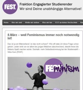 Wes Geistes Kind der linke Studentenverein ist, dem sie angehört, kann man auf der Webseite sehen. Dort wird die menschenverachtende Ideologie des Feminismus verfochten. (Bild: FEST)