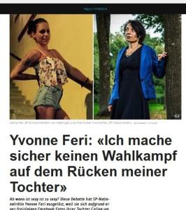 In der Publikation Watson bestreitet die SP-Nationalrätin Yvonne Feri, daß die Tochter und sie sich abgesprochen hätten oder sie Wahlkampf mit dem plötzlich aufgetauchten freizügigen Foto der Tochter macht. Und sich so als Feministin und Frauenrechtlerin darstellen will in der Öffentlichkeit. Nur: Warum hat sie sich dann öffentlich über das FB-Foto der Tochter aufgeregt? So kurz vor den Wahlen? Ein Schelm, wer Böses dabei denkt.   Oder wer es doppelzüngig findet, daß die Mutter auch nocht einen Berater mit Rotlichtvergangenheit hat, den sie ins Parlament mitnimmt (Bildschirmfotoausriß: Watson)