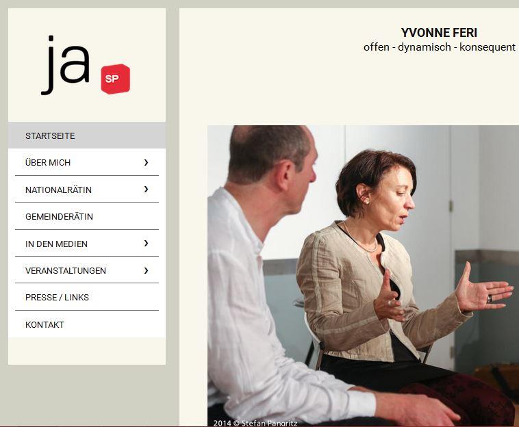 Bildschirmfotoausriß: offizielle Webpräsenz Yvonne Feri, SP-Nationalrätin