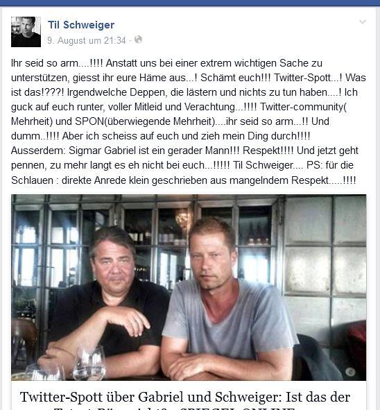 Til Schweiger lud ein Bild von sich und Sigmar Gabriel hoch und beschimpfte aufs Übelste seine Fäns (Facebook-Fotoausriß: Schlagwort AG)