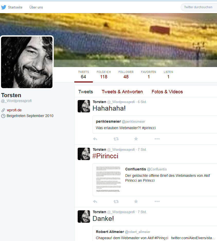 Torsten Ulke von der Agentur WProfi.de lästert öffentlich auf Twitter darüber, daß er den Blog von seinem Kunden Akif Pirincci sabotiert und ihn in eine Ecke drängt, in der er nicht steht (Bildschirmfoto: Twitter-Profil von Ulke)