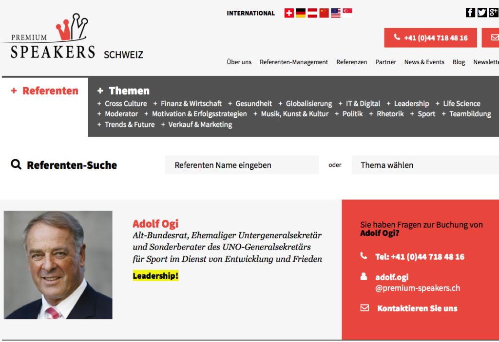 """Adolf Ogi kann man für Geld bei einer Firma namens """"Peihmium Spiehkärs"""" (premium speakers) buchen / Bildschirmfotoausriß"""