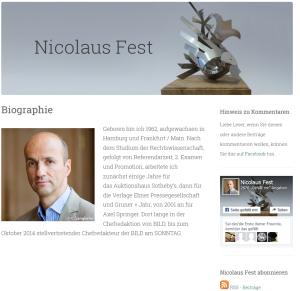 Bildschirmfotoausriß: Webseite von Fest
