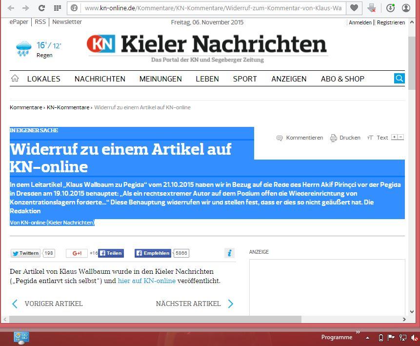 Bildschirmfotoausriß: Lügenpresse Kieler Nachrichten