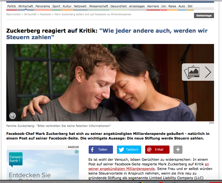 Der Spiegel übernimmt kritiklos die PR von Facebook / Zuckerberg (Bildschirmfotoausriß: Spiegel.de)