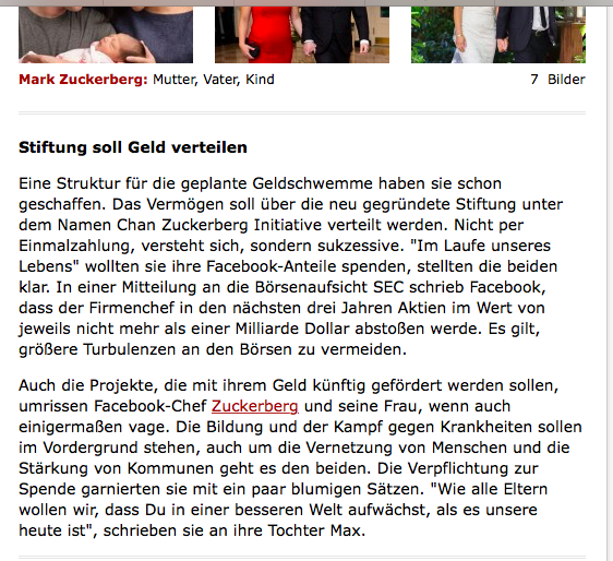 Der Spiegel, das einstmal angesehene und gefürchtete Nachrichtenmagazin schwadroniert von einer angeblichen Stiftung. In Wahrheit ist es keine Stiftung, sondern eine GmbH (LLC)  / Bildschirmfotoausriß: Spiegel.de