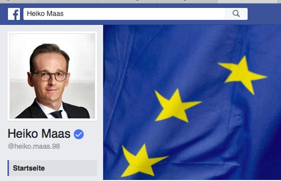 Heiko Maas´ FB-Profil ziert eine EU-Flagge. Aha...