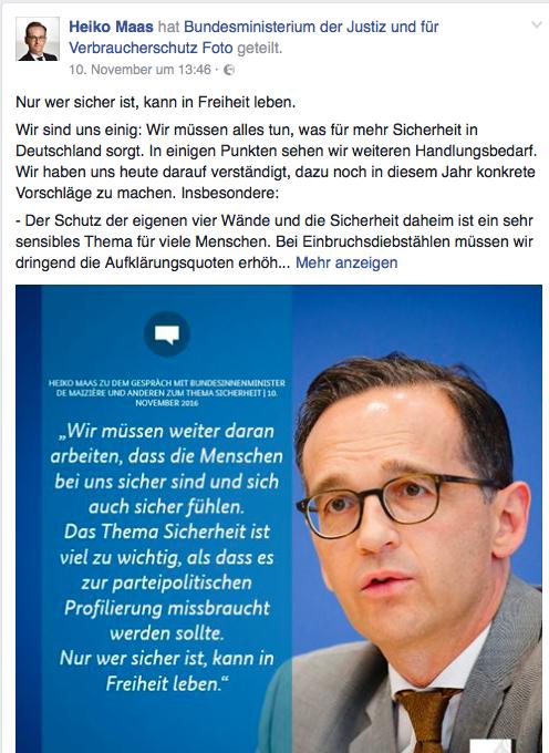 Heiko Maas macht sich auf FB Sorgen um Sicherheit. Oha...