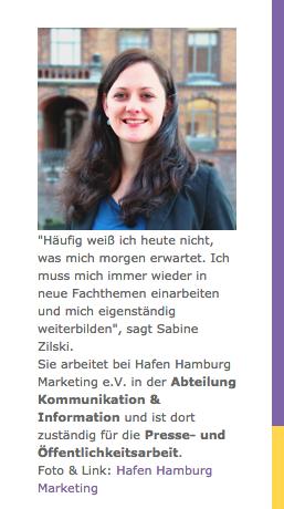 Sabine Zilski war beim Hafen Hamburg, heite ist sie bei Scholz & Friends Medienverantwortliche (Bildschirmfotoausriß: Jobaspekte.de)
